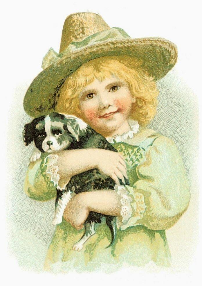Картинки дети с животными для декупажа