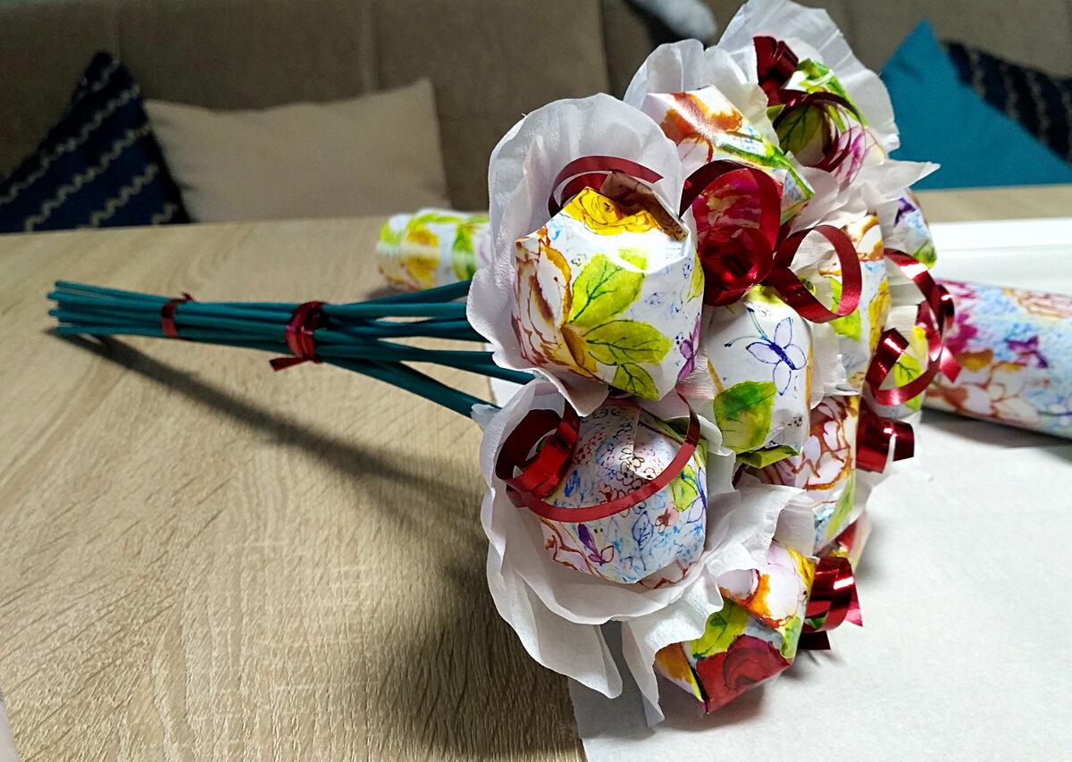 Букет из 10 цветов и конфет своими руками, букеты марта
