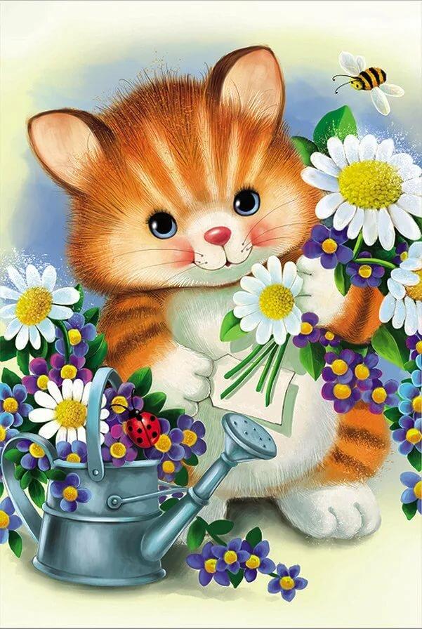 Маме, картинки котики с цветами мультяшные