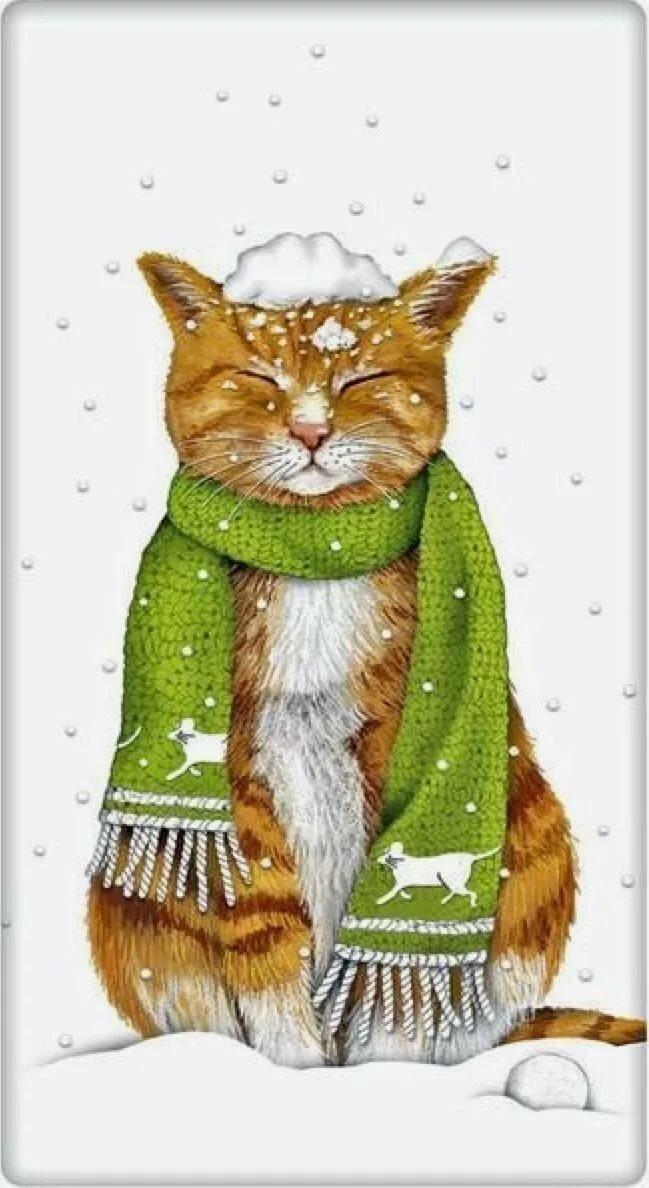 Картинки рыжий кот в шарфе, шаблоны