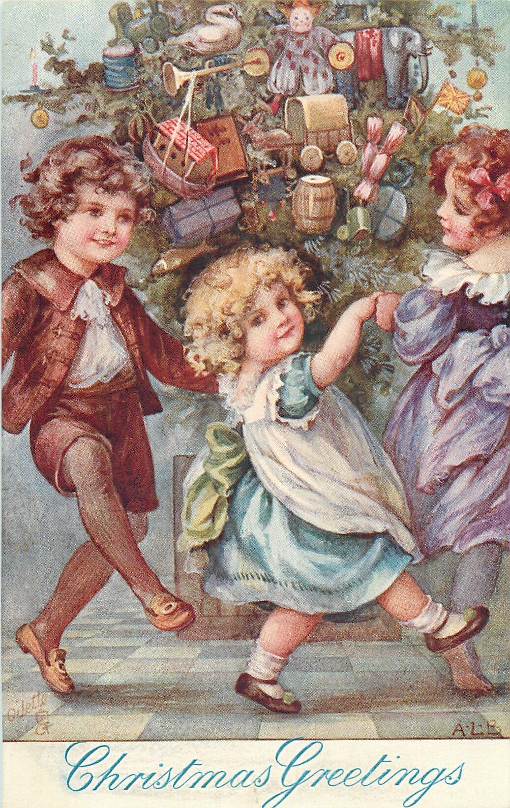 Ретро картинки рождество дети, днем рождения