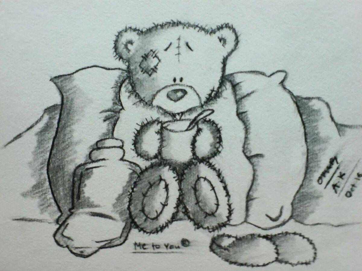 Картинка для срисовки мишка