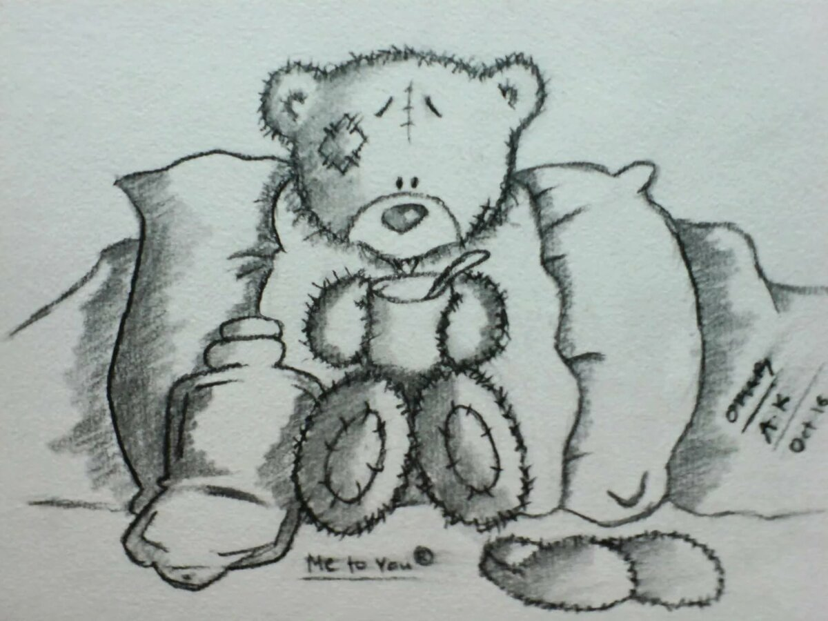 поздравление медвежонок рисунки карандашом пока учимся договариваться