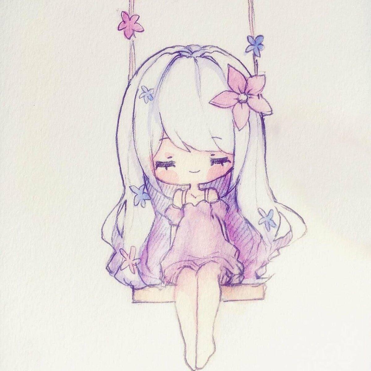 Картинки девочек карандашом милые