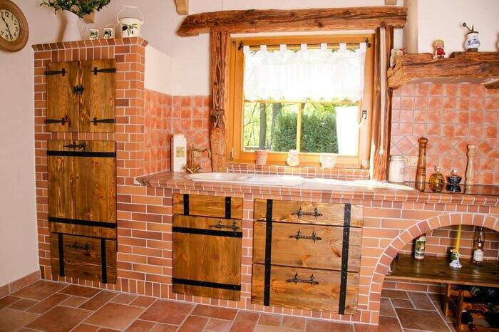 кухонный гарнитур из кирпича фото можно обои