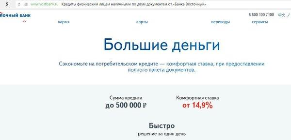 Кредит в банке восточный условия отзывы