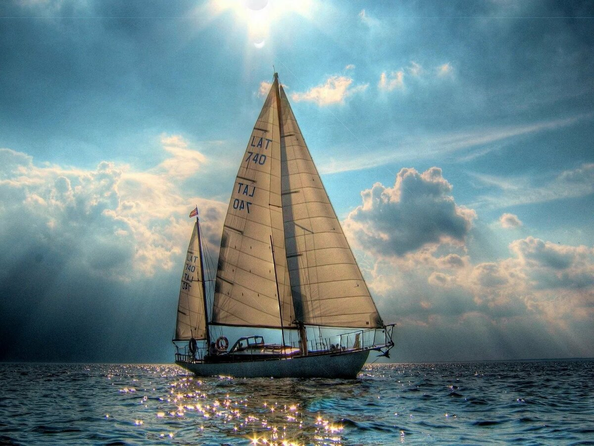 Яхта море открытка