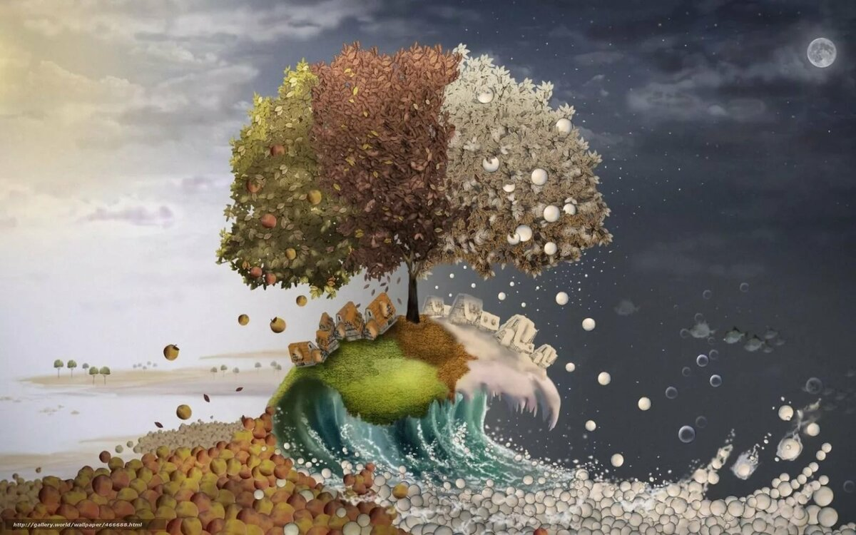 Change, season, summer, autumn, Winter, apples, snowballs, houses - #466688