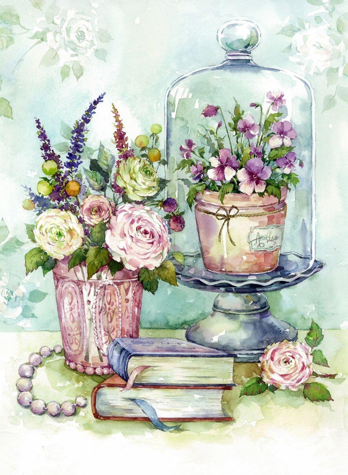 Открытки с днем рождения графика цветы, годы словно