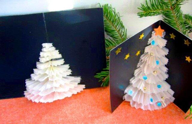 Картинки, новогодняя открытка из бумажных салфеток