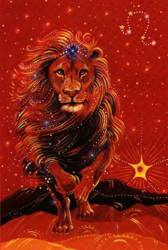 Открытка льву женщине