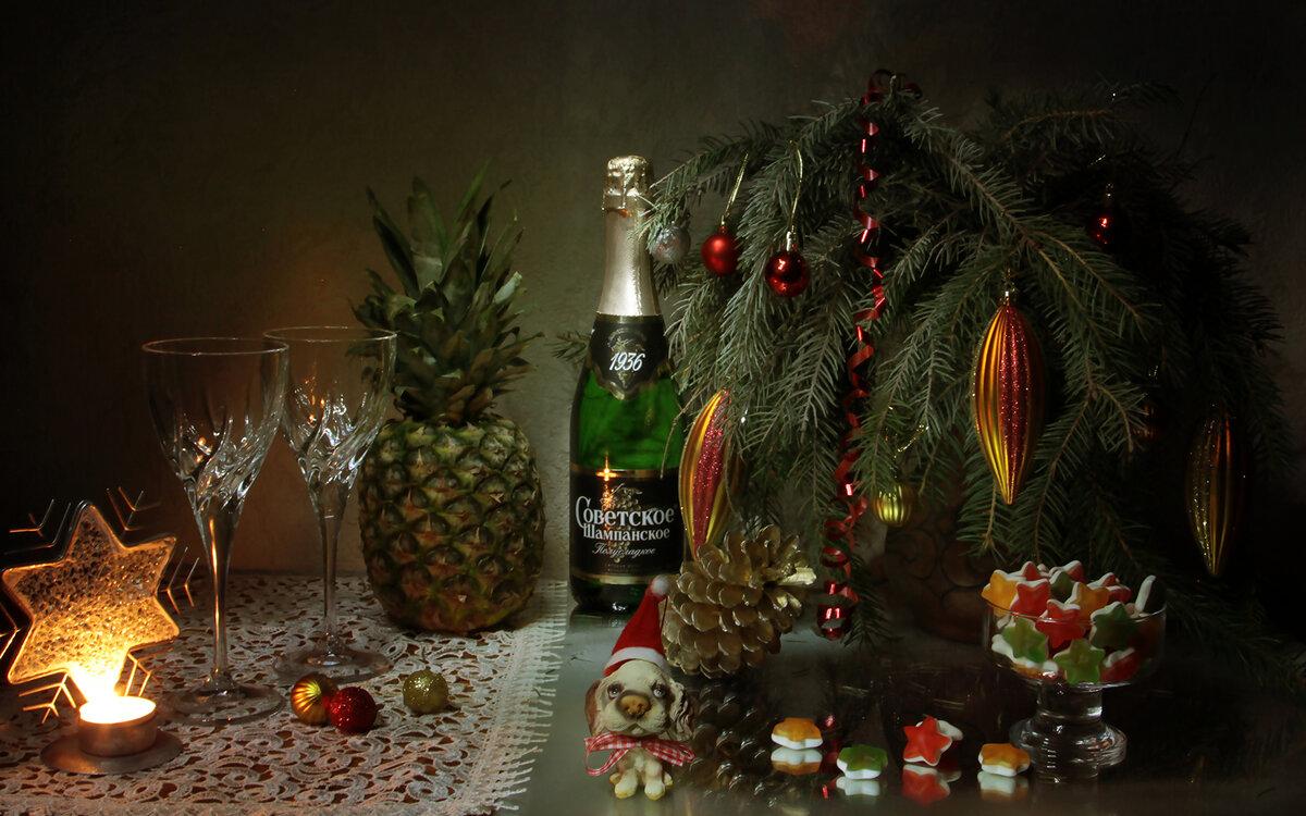 фото шампанского под елкой