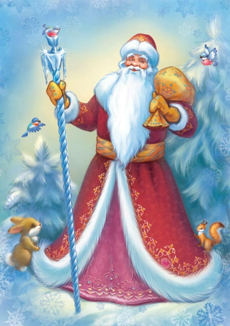 Для, дед мороз и снегурочка на открытке
