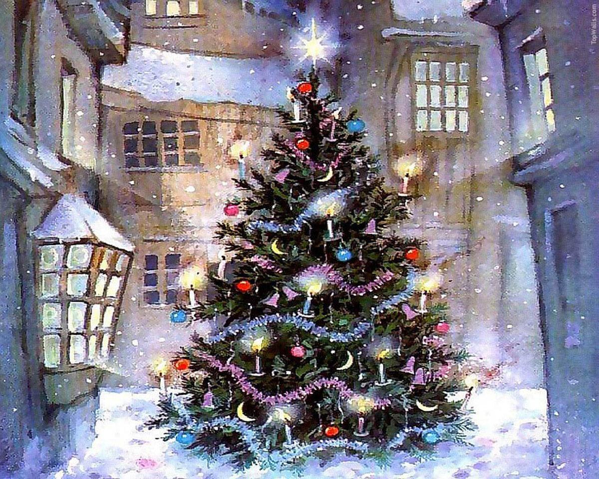 Днем рождения, новогодние открытки с наряженной елкой
