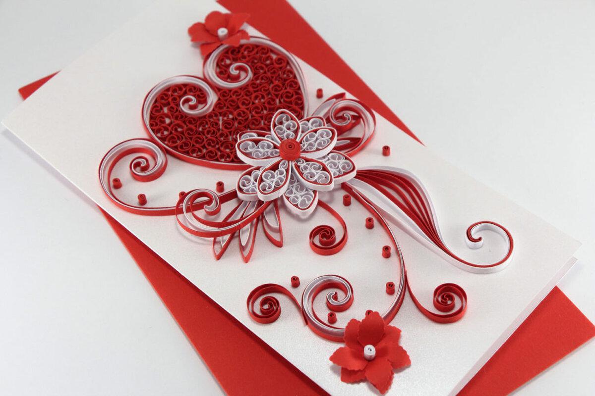Открытка к дню святого валентина квиллинг