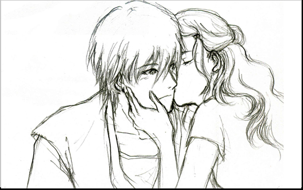 Cute anime couple drawings easy bing images