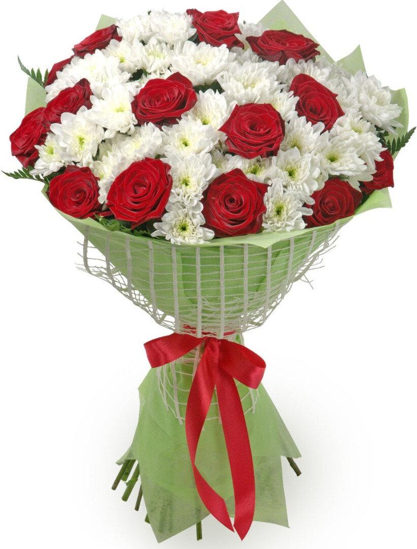 Цветы, букет из 13 красных роз и белых хризантем