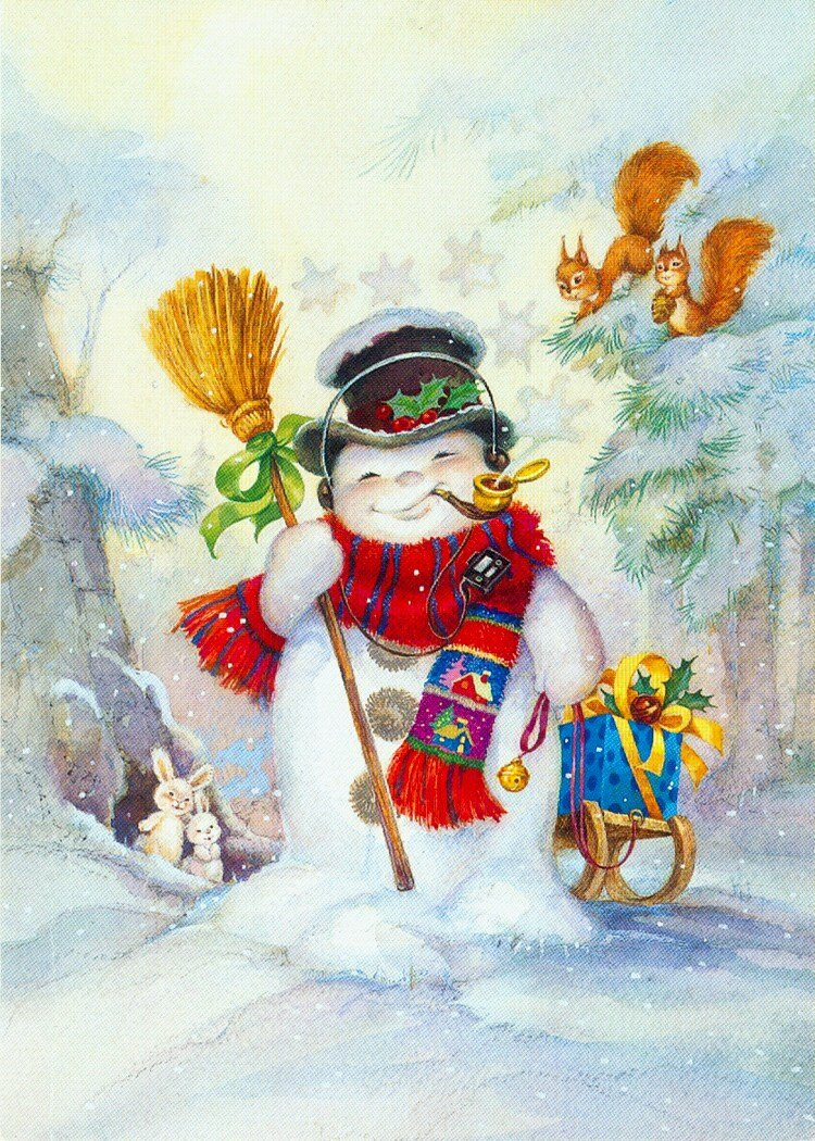 Снеговик открытки новогодние