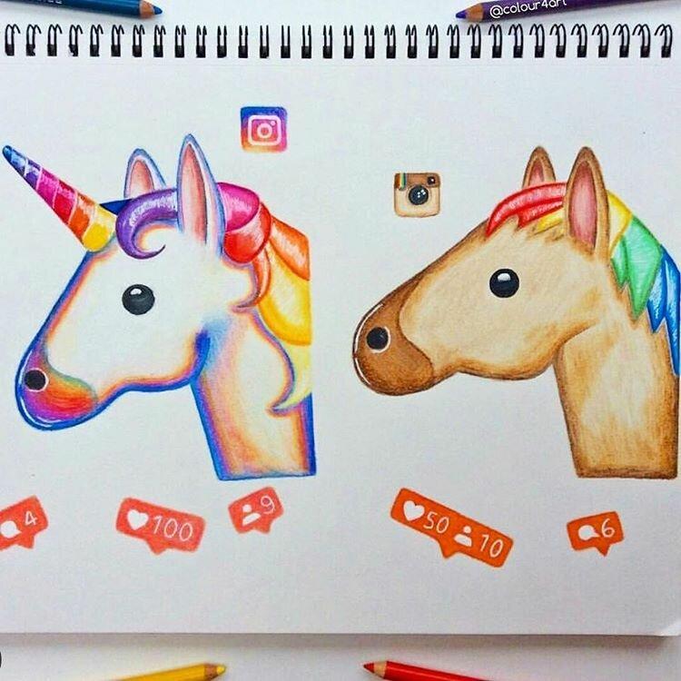 Как нарисовать классные картинки для личного дневника единорог