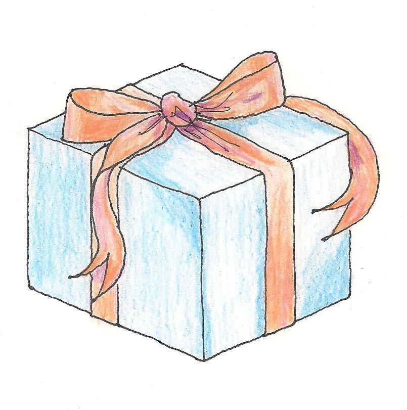Картинка подарка в коробке с бантом схематично