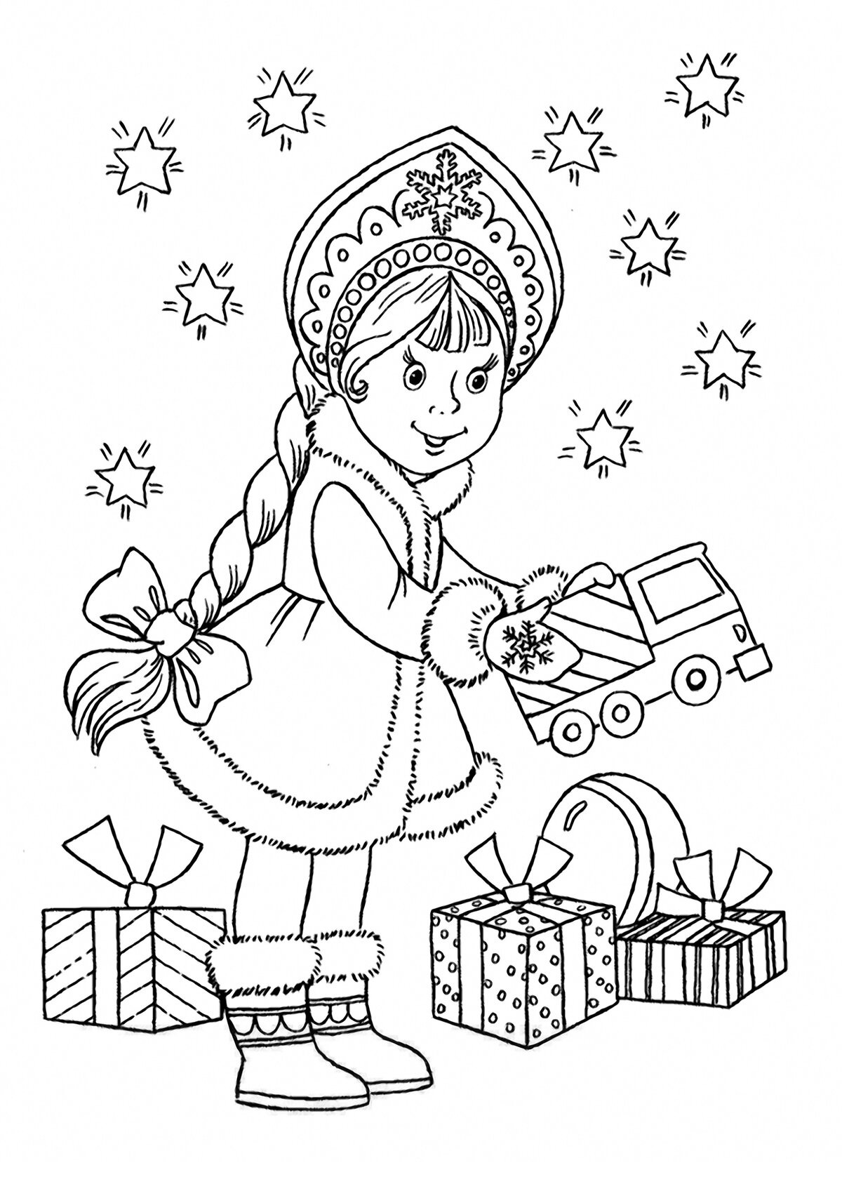 новогодние рисунки раскраски распечатать