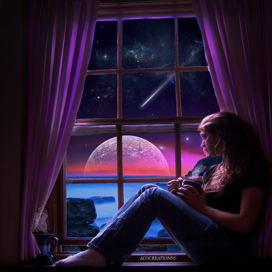 Картинки девушки сидящей на подоконнике в ночи