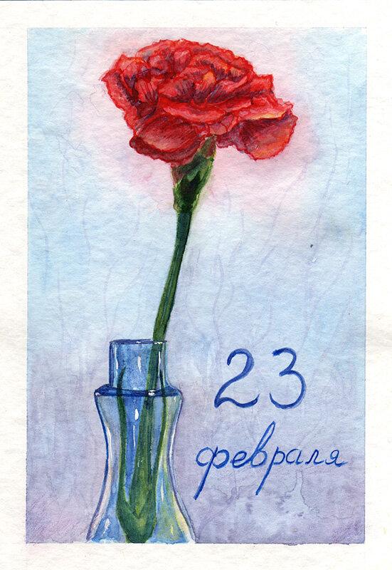 Маме, открытки на 23 февраля карандашами цветными
