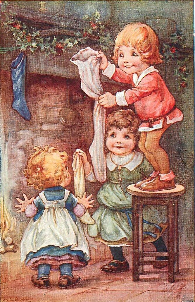 Ретро картинки рождество дети, для сестры