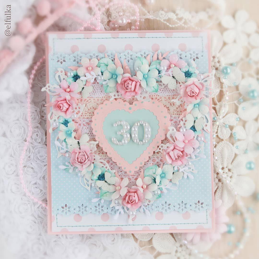 Свадебная открытка с сердцами скрапбукинг