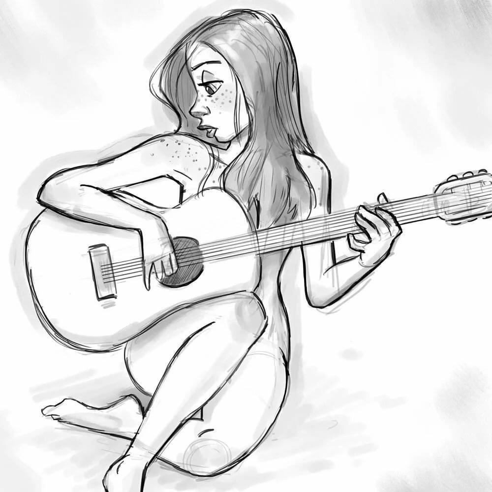 Девушка с гитарой картинки нарисованные, для