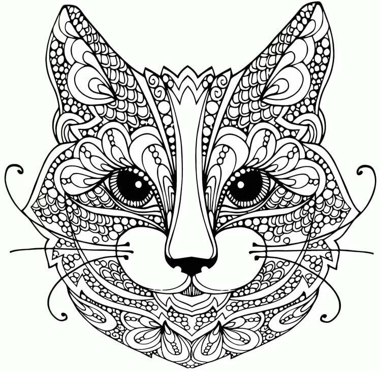 Распечатать картинки кошек мордашки антистресс, новый год 2018