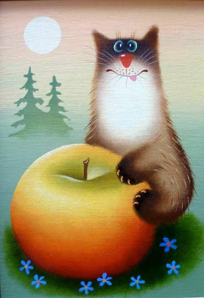 Красивые смешные картинки с котами рисованные