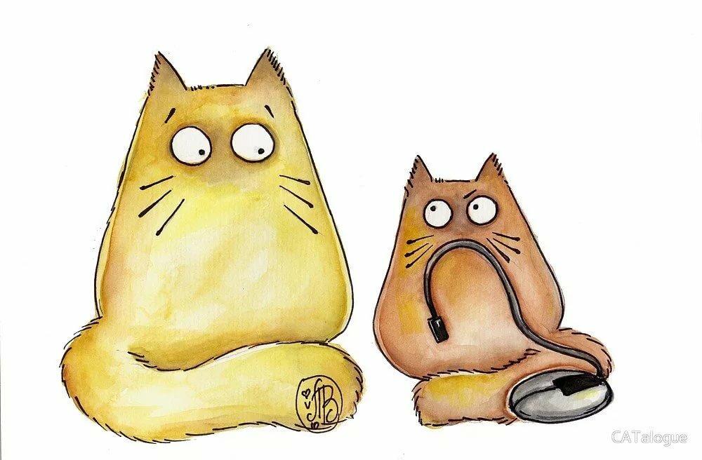 Открытки дню, легкие и смешные рисунки котиков