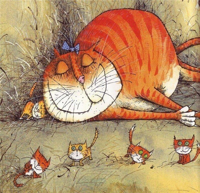 Рисунки смешных рыжих котов, одним годиком мальчика