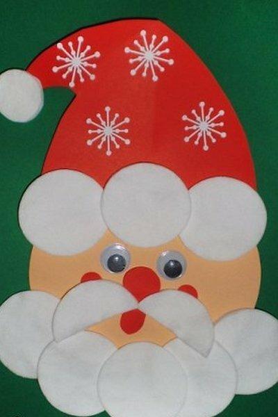 Дед мороз открытка из ватных дисков, любимой дочери мамы