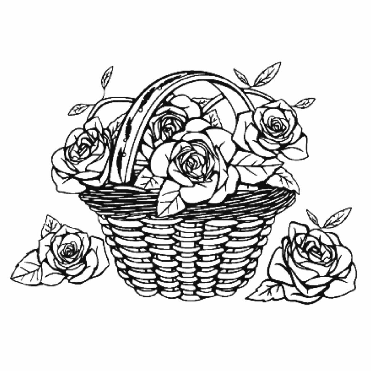 Картинки корзина с цветами нарисованные, открыток инструмент открытка