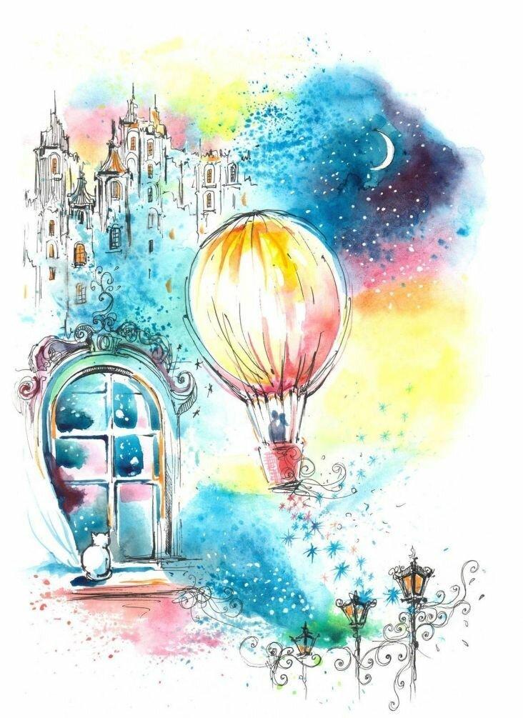 Открытки воздушный шар с цветами, картинки сестре днем