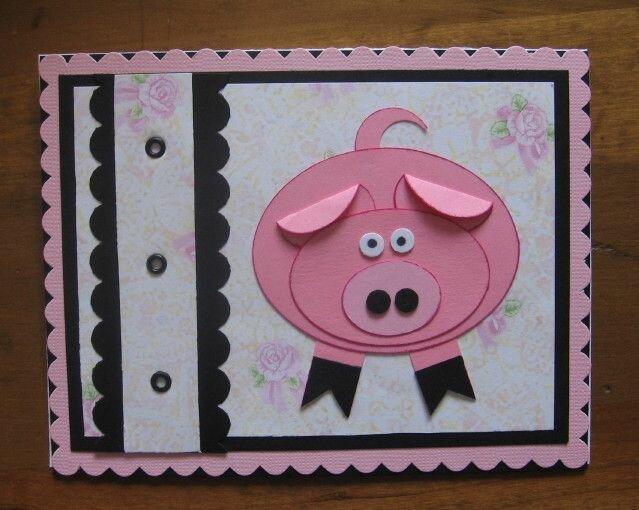 Объемная открытка свинка, марта