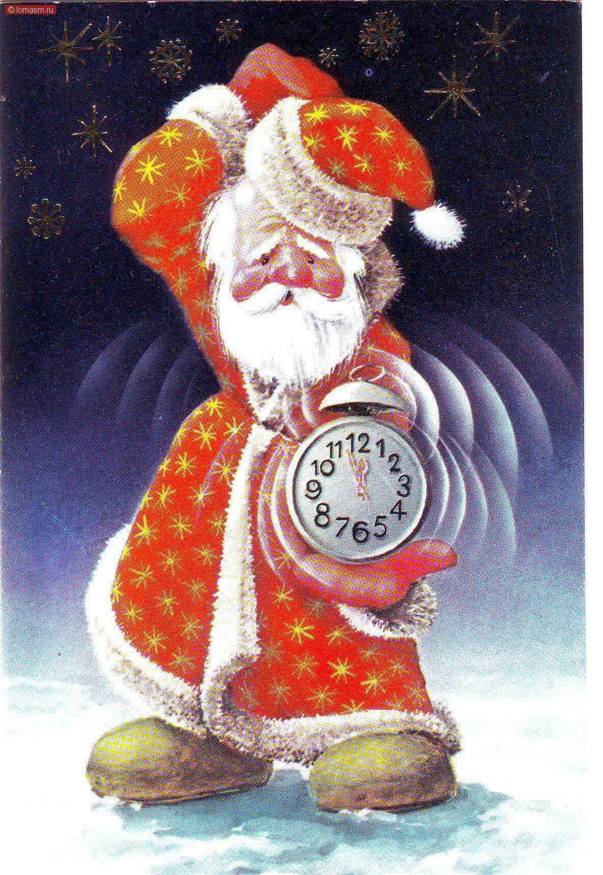 Дед мороз на новогодних открытках