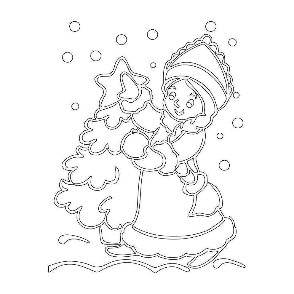 картинки на стекло на новый год снегурочка вернулся своей