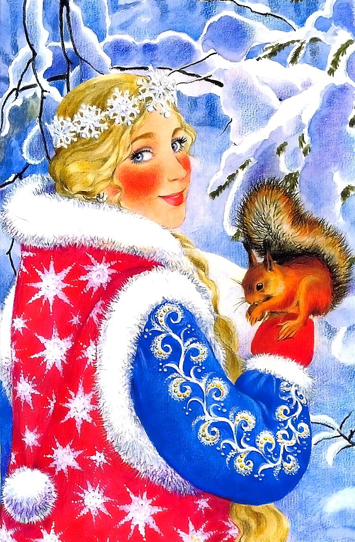 Новогодняя открытка снегурочка с белками