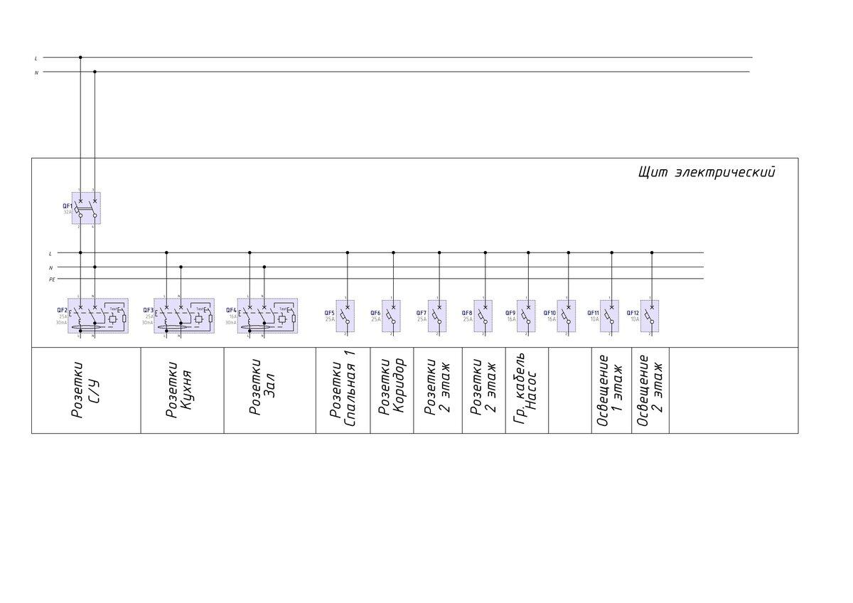 Электрическая схема потребителей на даче