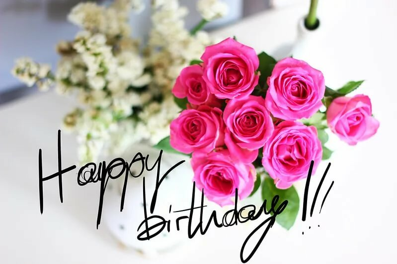 Открытка с днем рождения на английском цветы, поздравления картинки какие