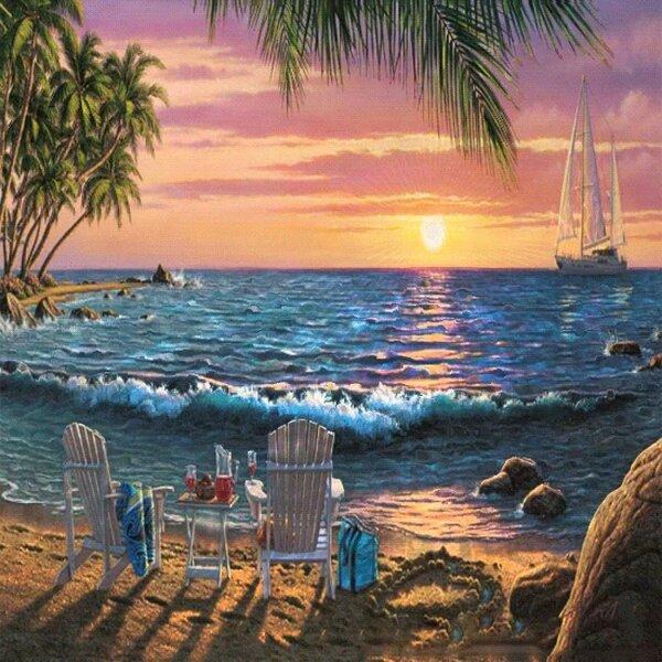 Анимационная картинка пляж