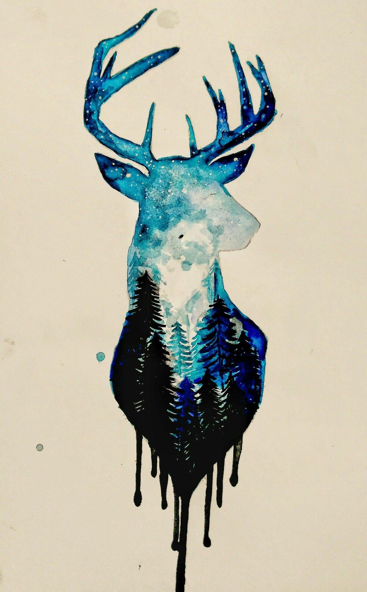 Прикольные картинки оленя для срисовки, осень