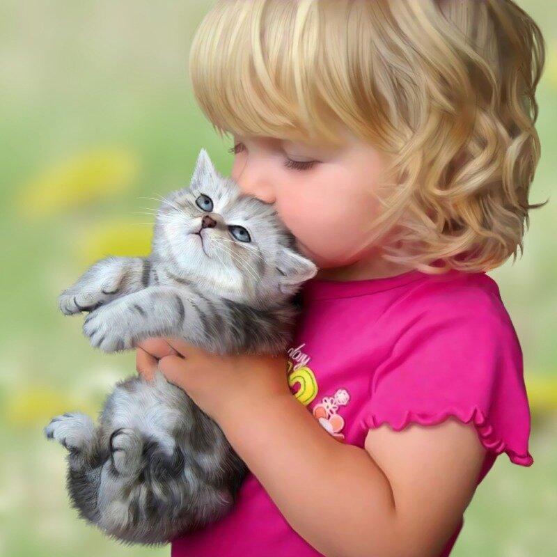 Дети и котята фото