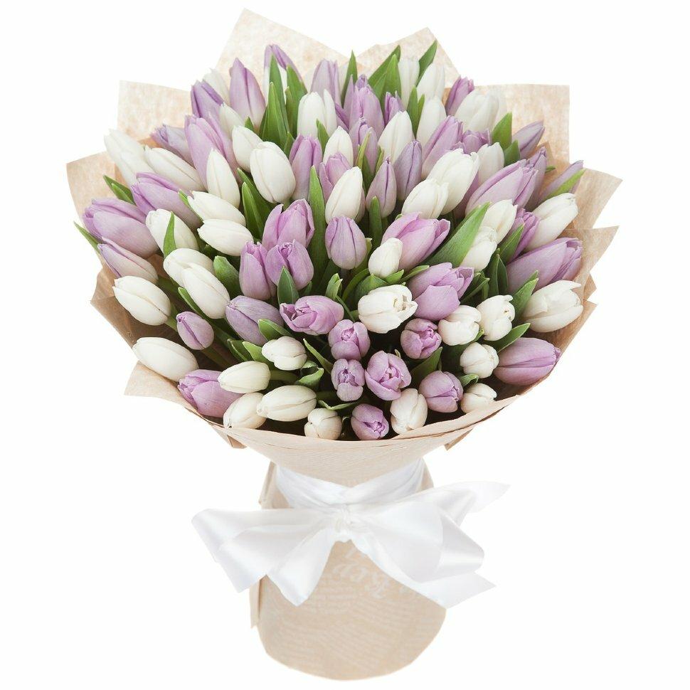 Букет, доставка цветов-сирень тюльпанов