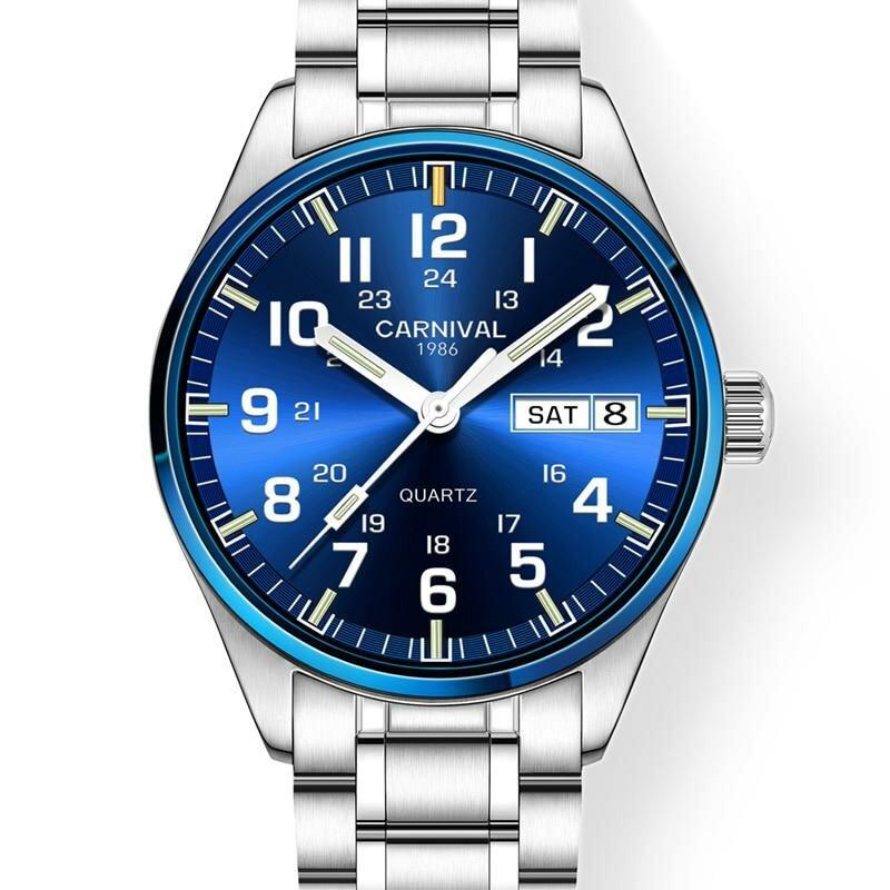 ae44dd83 ... Карнавал Элитный бренд часы Для мужчин кварцевые Для мужчин часы тритий  световой часы мужской Водонепроницаемый Военная