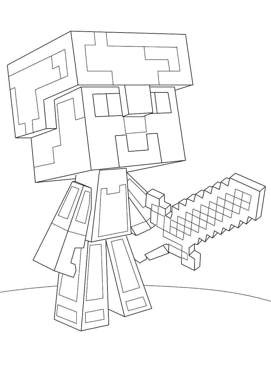 «Раскраска Стив в алмазной броне из Майнкрафт» — карточка ...