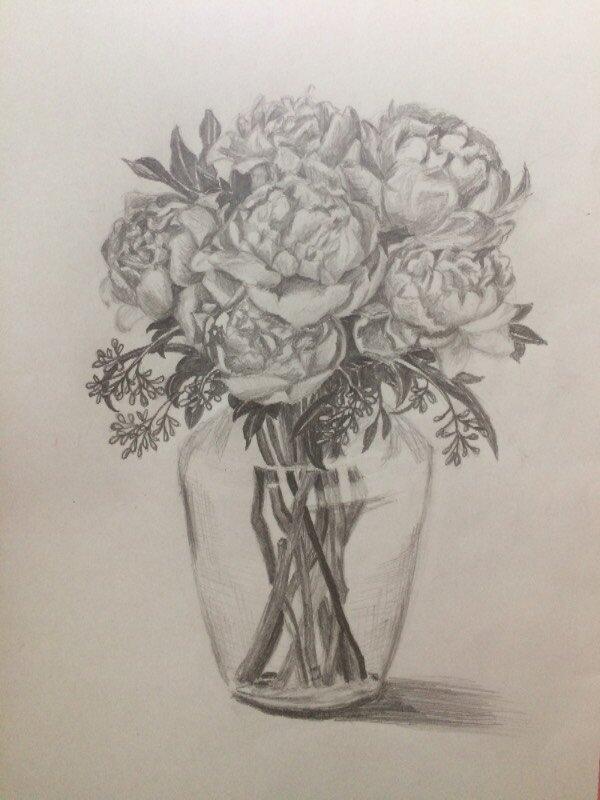 букет рисунок карандашом